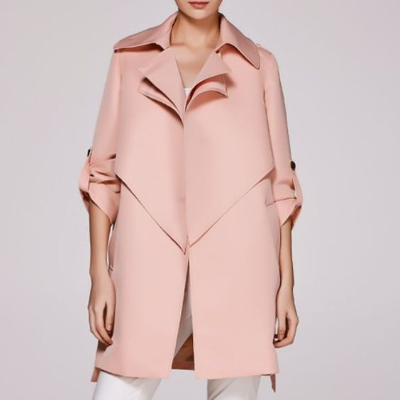 Womens Lapel Loose Fit Parka Pink Belt Trench Long Solid Fashion Coats  F652