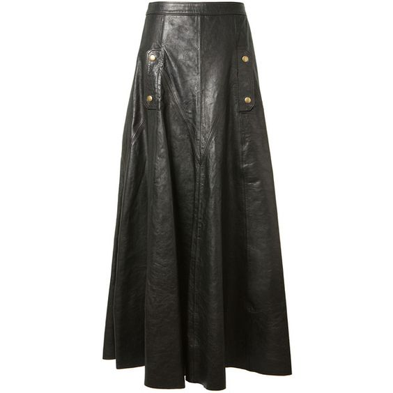 Chloé Black Leather Wide Long Skirt ($3,985) ❤ liked on Polyvore ...