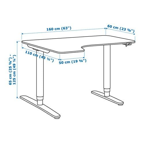 Bekant White Corner Desk Left Sit Stand 160x110 Cm Ikea Corner Desk Ikea Bekant Ikea