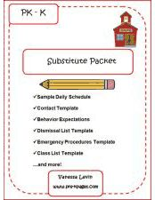Substitute Teacher Info packet for cindy