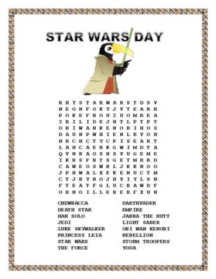 """This FUN Word Search is the perfect Morning Work Search for May 4 considered a holiday by Star Wars fans to celebrate the film. """"May the Fourth be with you"""""""