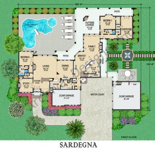 Coastal luxury italian house plan sardegna first floor 7 for Garage apartment plans with elevator