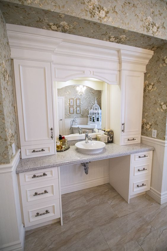 Custom built bathroom vanity and storage wheelchair accessible custom bathrooms pinterest for Wheelchair accessible sink bathroom