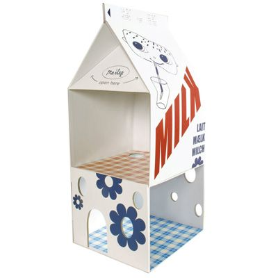 Maileg Milk Carton - Mouse House:  There is even a matchbox bed for the mice to sleep in!