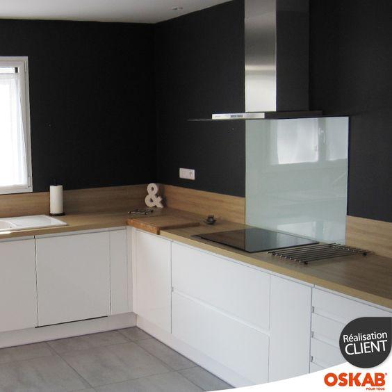 Credence verre noir cuisine belle cuisine nous a fait l 39 aise dans le - Credence cuisine verre ikea ...