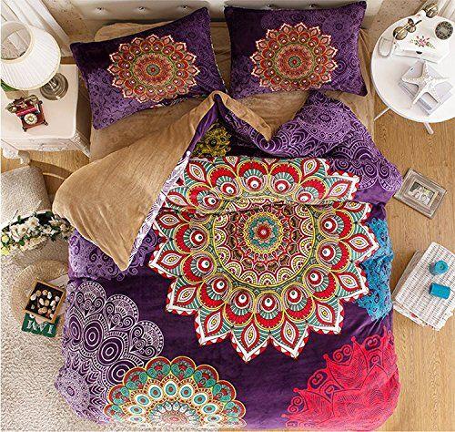 LELVA Bohemian Flannel Bedding, Boho Bedding Set, Bohemian Duvet Cover Set, Queen King Size 4pcs (1, Queen) LELVA®