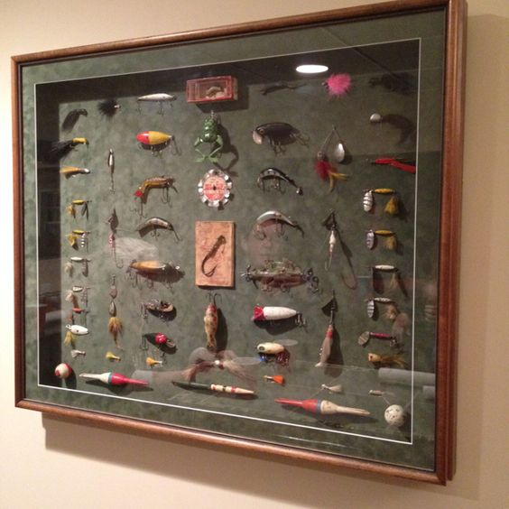 Old fishing lures wall art!