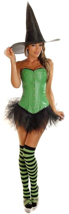Our Sexy Green Pin Up Witch Costume includes a faux leather corset with front busk closure lace-up back for cinching and matching thong; Witch Hatu2026  sc 1 st  Pinterest & Our Sexy Green Pin Up Witch Costume includes a faux leather corset ...