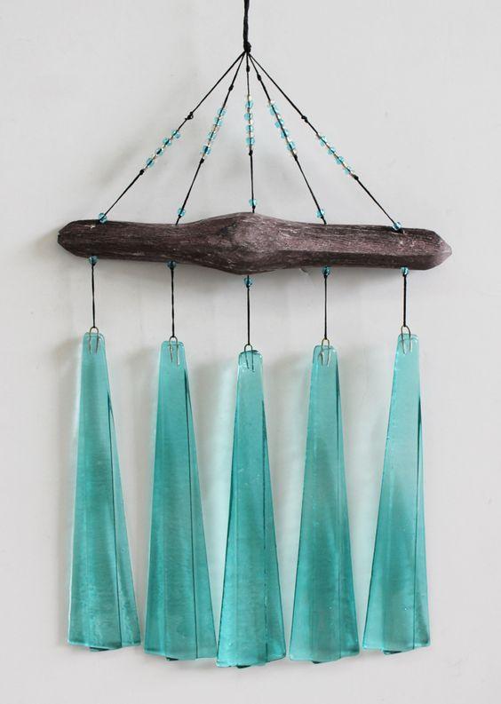 Turquoise Glass & Driftwood Wind Chimes - Garden & Patio Decor - California Seashell Company