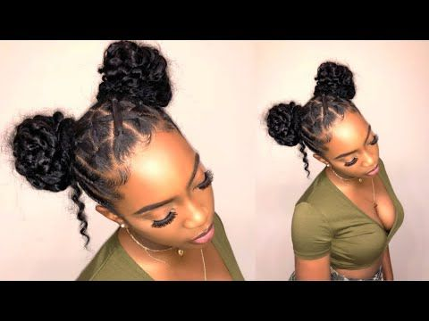 How To Two Puffs Space Buns On Natural Hair With Zig Zag Part Edges Hairstyles Lara Blog Natural Hair Bun Styles Hair Bun Tutorial Two Buns Hairstyle
