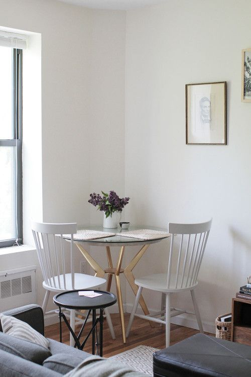 Nooks studios and nyc on pinterest for Dining room table for studio apartment