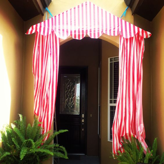 Circus birthday party main entrance, DIY tent. tablecloths from ...