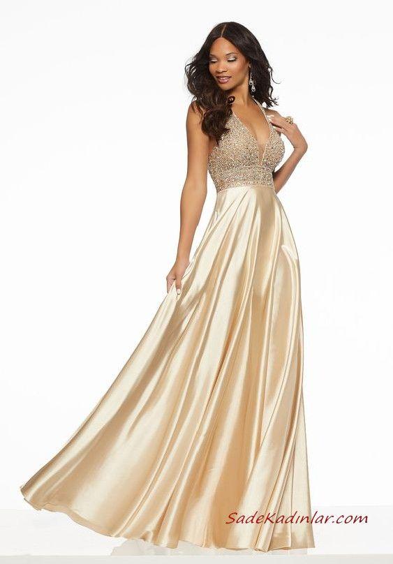 2021 Abiye Elbise Modelleri Krem Uzun Saten Askili V Yakali Tas Islemeli Klos Etekli The Dress Elbise Modelleri Elbise