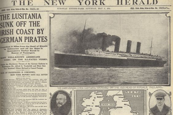 MAY 8, 1915 Despite German warnings that the ship would be a target because it was carrying war materiel, the sinking of the ocean liner Lus...