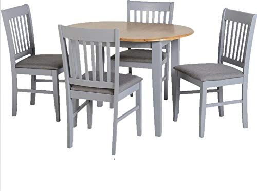 Extending Dining Table And Chairs 4 Padded Seat Large Round Oak