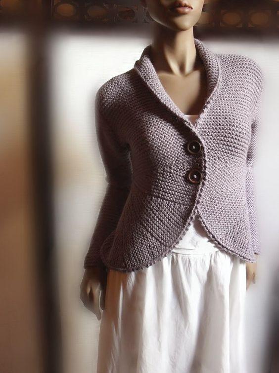 Womens Hand Strick Pullover Jacke lila grau Wolle von Pilland