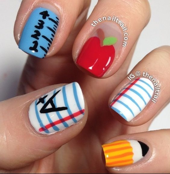 Back to School Nails. You'd probably get suspended for such loud nails though. Really?!