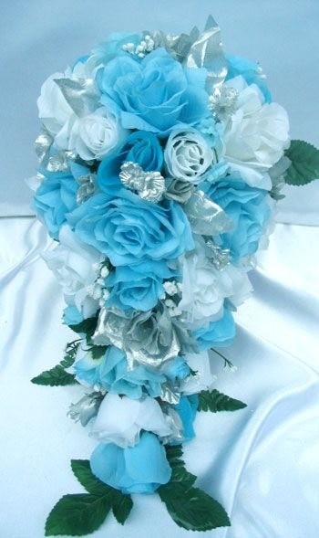 21pc bridal bouquet wedding flower turquoise silver bouquet wedding wedding bouquets and. Black Bedroom Furniture Sets. Home Design Ideas