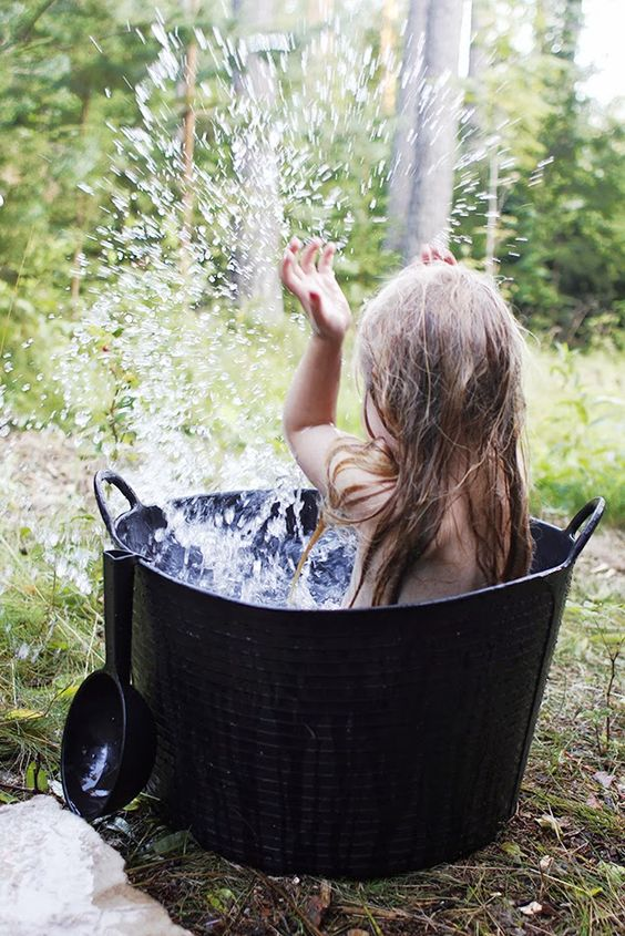 Outdoor bath for lil ones
