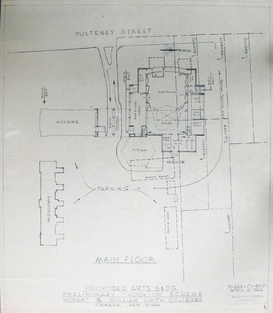 HWS Archives Exhibits | Proposed Arts Building Site Plan