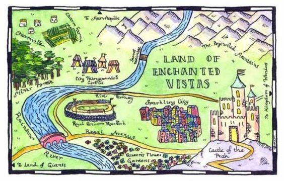 Fairy Tale Map  Land of Enchanted Vistas Map 5 x 7 par paintandink, $10.00