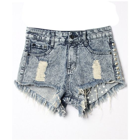 LUCLUC Blue Ripped Rivet Denim Shorts ($28) ❤ liked on Polyvore featuring shorts, denim shorts, ripped shorts, blue shorts, blue jean short shorts and distressed shorts