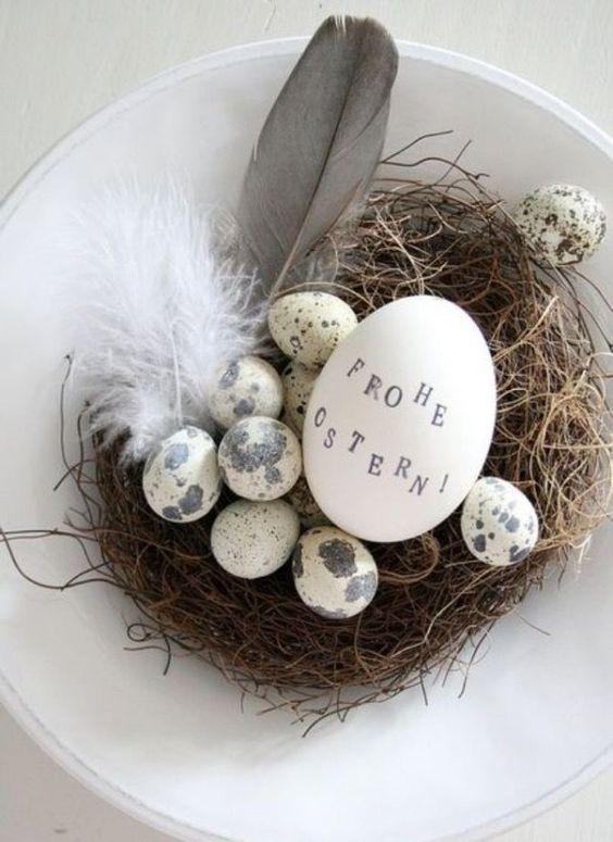 Pâques 2015: idée de décoration en blanc et gris