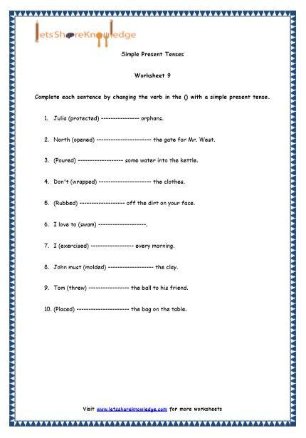 Simple Present Tenses Printable Worksheets Worksheet Simple Present Tense Printable Worksheets Worksheets English grammar worksheets for grade 4