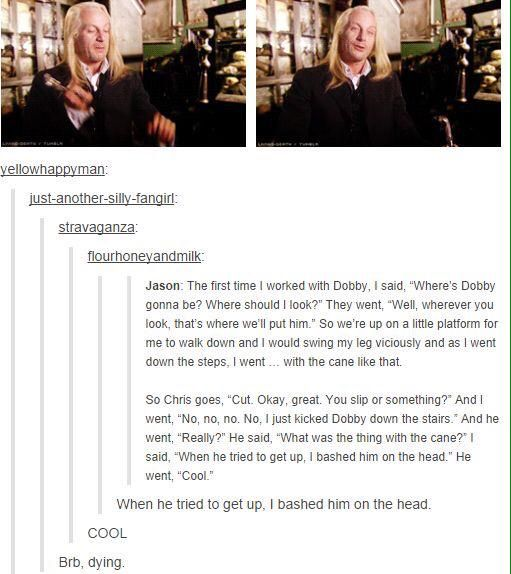 @/jasonsfolly on how he improvised the scene in Dumbledore's office involving Dobby. #HappyBirthdayJasonIsaacs: