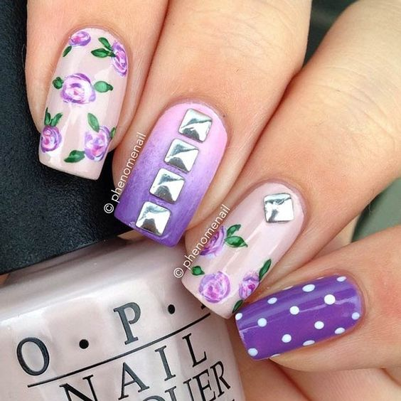 Purple Flower Nail Design + Silver Studs