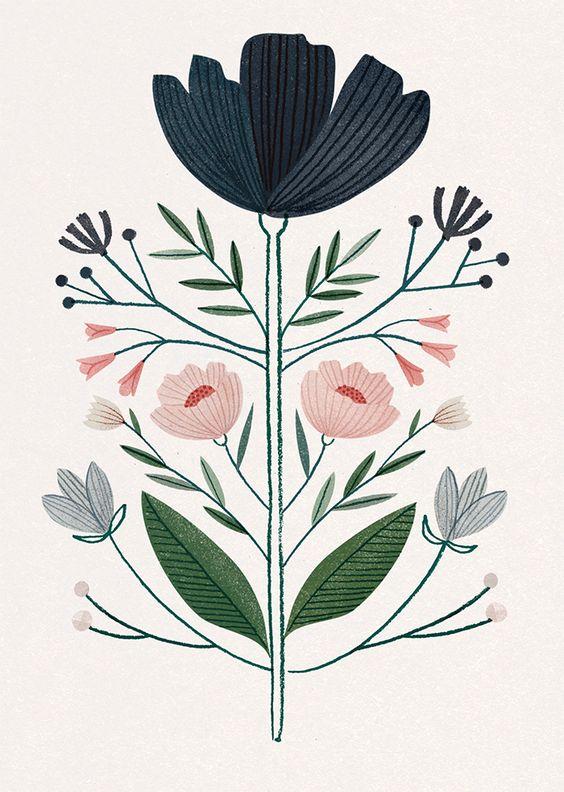 Clare Owen flower illustration, art | Blumen Illustration Print
