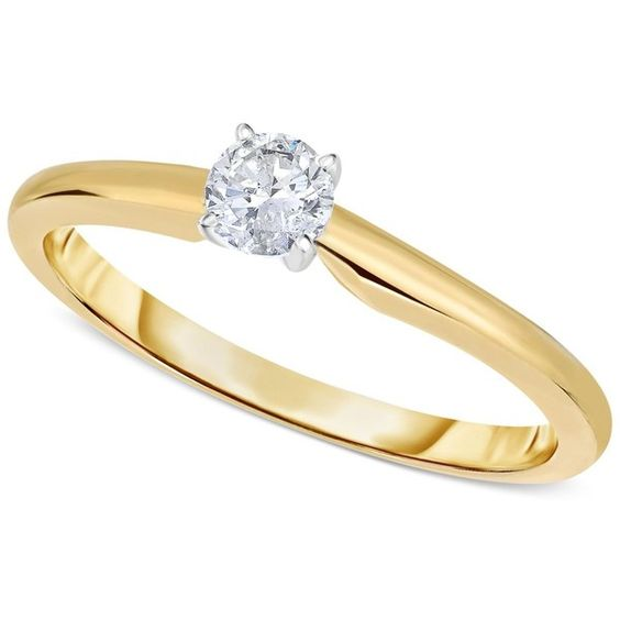 Engagement Ring, Certified Diamond (1/3 ct. t.w.) and 14k White or... (25 135 ZAR) ❤ liked on Polyvore featuring jewelry, rings, yellow gold, yellow gold rings, round cut engagement rings, 14k engagement ring, 14k yellow gold ring and 14k gold ring