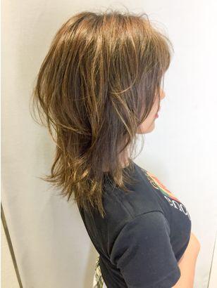 透明感カラー ミディアムレイヤー ウルフ Lino By U Realm 髪型 ヘアカット ヘアカット ミディアム