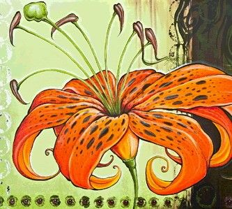 Tiger Lily by Shanna Trumbly- Canvas Giclee Print 27 x 36