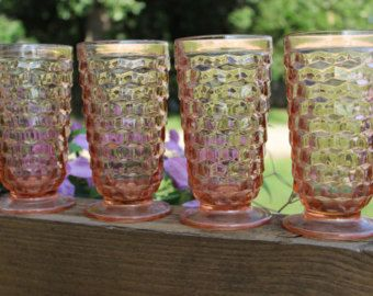 4 Vintage pink Whitehall Cubist tall footed ice tea goblet tumbler - vintage pink ice tea glass - American Fostoria tumbler   Cube pattern $58 plus $15 shipping