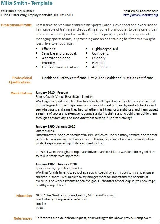 Long Term Unemployed Cv Example Template Learnist Cv Template Cv Design Template Downloadable Resume Template
