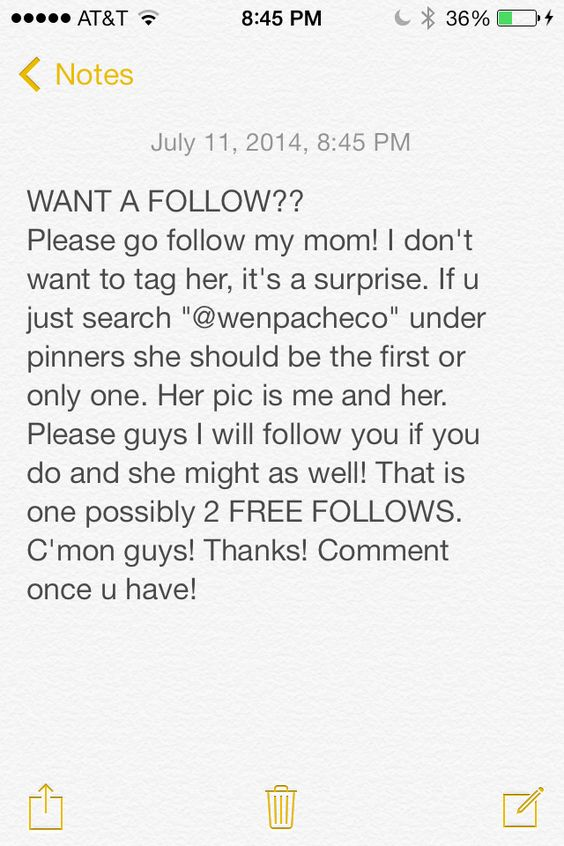 Please guys! I know I just had you follow my dad and all for his birthday but now he has almost as many followers as her and she is kinda jealous. I mean she has like a lot of pins and good ones and he only has one. Please guys!