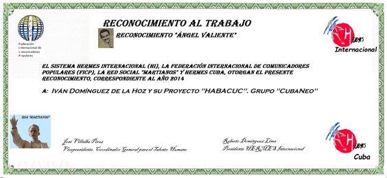 Proyecto HABACUC. Grupo CubaNeo Distinción Ángel Valiente: