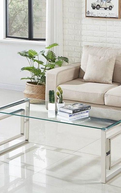 Mario Glass Coffee Table In Clear With Stainless Steel Frame In