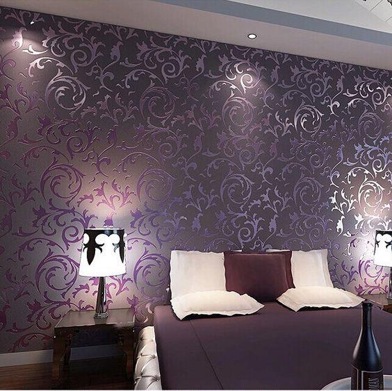 Goedkope hoge kwaliteit behang 3d mode papel de parede slaapkamer achtergrond muur desktop behang rollen wit paars r379, koop Kwaliteit wallpapers rechtstreeks van Leveranciers van China: