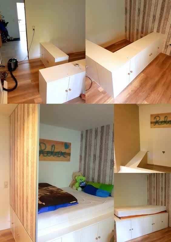 Diy Jugendzimmer Hochbett Mit Ikea Kuchenschranken Als Unterbau