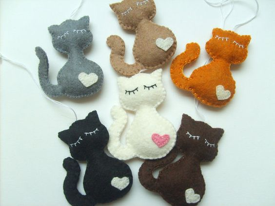 Gato fieltro llavero negro gato regalo accesorios por grabacoffee