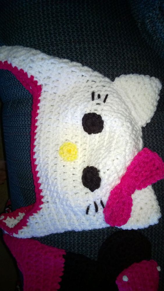 Handmade Hello Kitty hat for child 9 months to 4 yrs. by darstar5