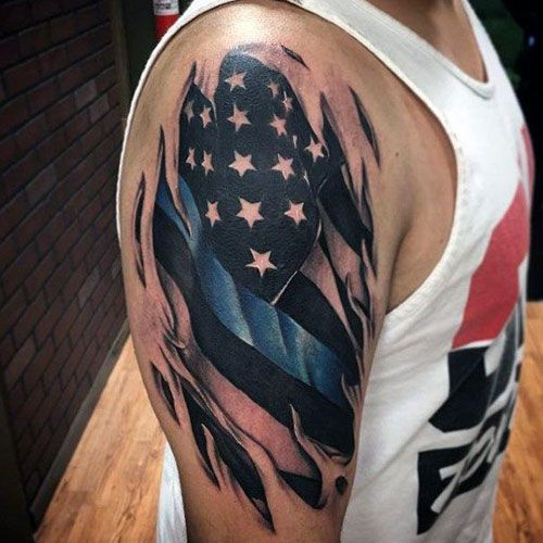 101 Best American Flag Tattoos Patriotic Design Ideas 2020 Guide Arm Tattoos For Guys Tattoos For Guys Line Tattoos