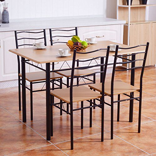 Kchex 5 Piece Dining Table Set With 4 Chairs Wood Metal Kitchen Breakfast Furniture This Is Our Moder Dining Table Setting Wooden Dining Tables Metal Kitchen