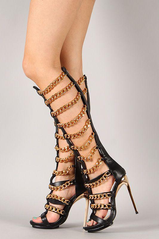 Privileged Vunk Gold Chain Gladiator Knee High Stiletto Heel | B ...