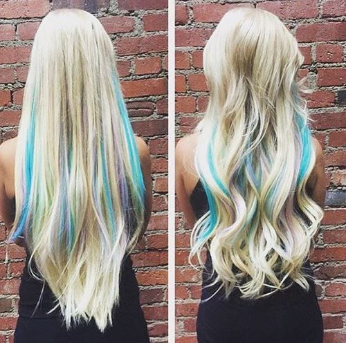 Blonde Foil Highlights with pops of color with Teal and Blue on a ...