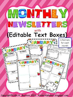 Free Editable Classroom Newsletter Templates | ... Blog Addict: Editable Newsletters for Parent-Teacher Communication