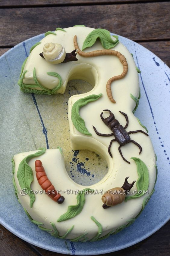 A Number 3 Birthday Cake with Creepy Crawlies... This website is the Pinterest of birthday cake ideas