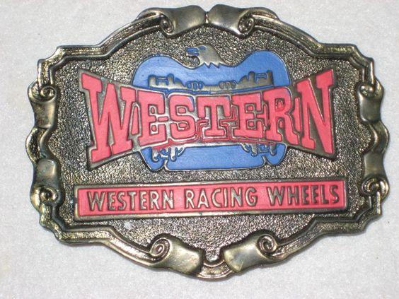 Western Racing Wheels Belt Buckle Cowboy Style